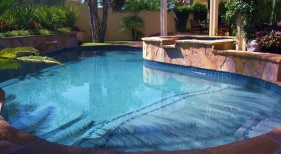 Custom Freeform Pool with Tanning Ledge and Tile