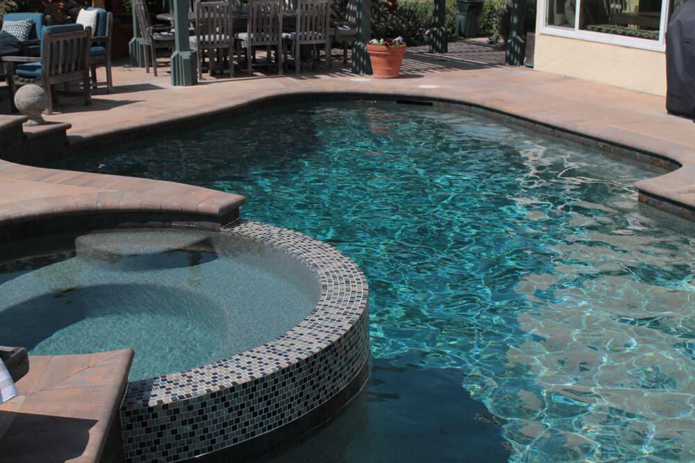 Deep Dark Green Pool Finish and Tile Spa