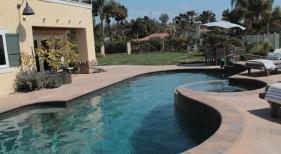 Freeform Pool with Raised Tile Spa